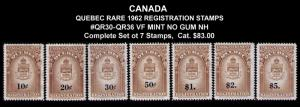 CANADA, QUEBEC REVENUE 1962 #QR30-36 CPL VF SET 7 STAMPS CV $83.00 MINT NOGUM NH