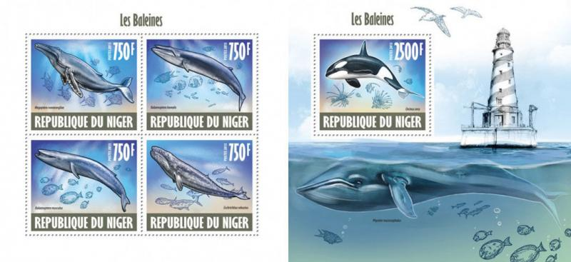 Whales Wale Marine Fauna Animals Niger MNH stamp set