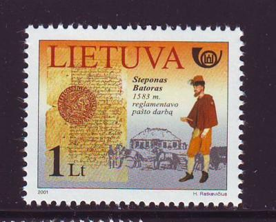 Lithuania Sc 703 2001 Stefan Batory stamp mint NH