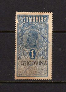 Old Romania Revenue Stamp BUCOVINA Light Stain Used Hinged remnant