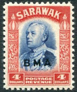 SARAWAK-1945  B.M.A $4 Blue & Scarlet Sg 143 UNMOUNTED MINT V30994