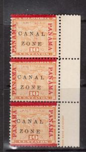 Canal Zone #13 Mint Strip Of Three Variety