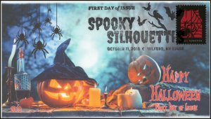 19-259, 2019, Spooky Silhouettes, Pictorial Postmark, First Day Cover, Red