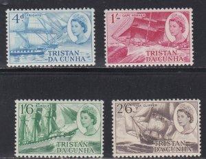 Tristan Da Cunha # 124-127, Sailing Ships, NH 1/2 Cat.