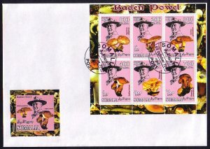 Somalia, 2001 Cinderella issue. Mushrooms/Scout B. Powell, First day cover.^