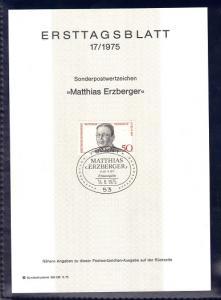 Germany 1975 Ersttagsblatt Matthias Erzberger