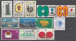 COLLECTION LOT # 2544 HONG KONG 12 ALL CONDITIONS  STAMPS 1971+ CV+$24 CLEARANCE