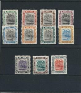 BRUNEI 1907-10 SET OF ELEVEN MM SG 23/33 CAT £200