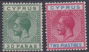 CYPRUS 1921 KGV 30PA AND 2PI WMK MULTI SCRIPT CA