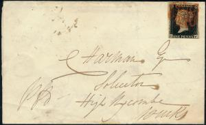 GB #1 ON COVER WITH RED MALTESE CROSS CANCEL 1841 HV3684