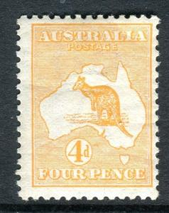 AUSTRALIA-1913 4d Orange.  A mounted mint example Sg 6