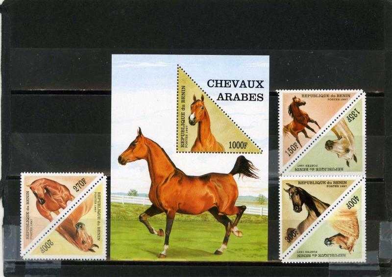 BENIN 1997 Sc#1053A-1054 HORSES SET OF 6 STAMPS & S/S MNH