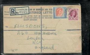 RHODESIA & NYASALAND COVER (P0506B) QEII FORMULA RLE+6D+1/3 REG LUANSHYA TO UK