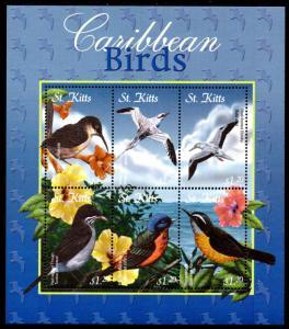 ST. KITTS 515 MNH S/S SCV $7.00 BIN $4.25 BIRDS
