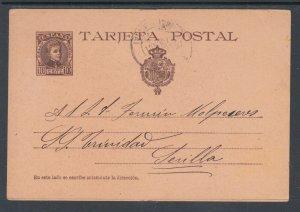 Spain H&G 35 used. 1901 10c violet brown on salmon Postal Card, BILBAO-SEVILLE