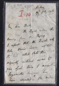 SARAWAK POSTAL HISTORY (PP1509B) 1908 LETTER FROM CHARLES VINER BROOKE  RARE
