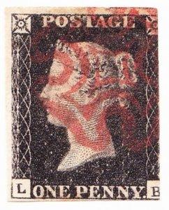 GREAT BRITAIN 1840 SG1g 1d Black L-B Red Maltese Cross 3 margins 2 large CV