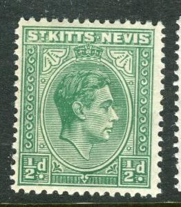ST. KITTS; 1938 early GVI issue fine Mint hinged Shade of 1/2d. value