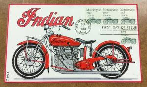 HANDPAINTED C&C Cachet FDC  Indian MOTORCYCLE 1983 SC# 1899 2/14 red