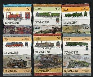 ST.VINCENT SG893/904 1985 RAILWAY LOCOMOTIVES MNH