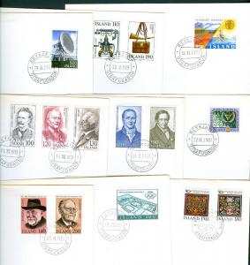 Iceland. 9 Different FDC. 1970-80es. See Description