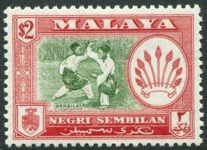NEGRI SEMBILAN-1957 $2 Bronze-Green & Scarlet Perf 12½ Sg 78 LMM V42831