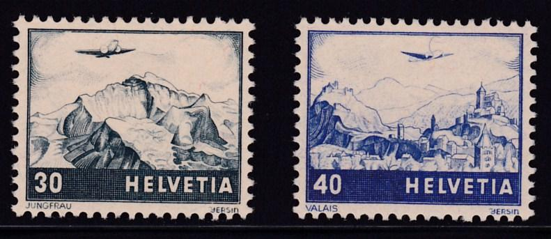 Switzerland 1948 Types of 1941 Re-issued Color Change  XF/NH