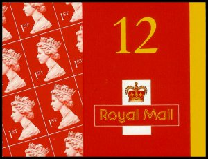 2001 12 X 1st Class Stamps Questa Complete Booklet (With Cod Post) SG MF2