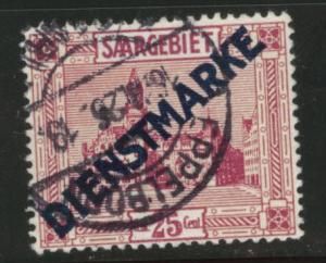 SAAR Scott o9 used official stamp