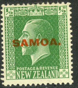 SAMOA 1916-19 KGV 1/2d Yellow Green Sc 127 MH