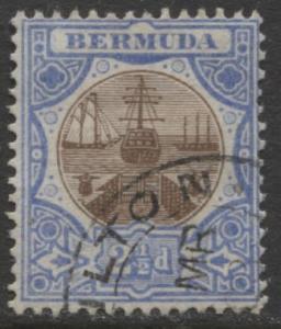 Bermuda - Scott 37 - Caravel - Wmk 3 -1906 - VFU -Single 2.1/2p Stamp