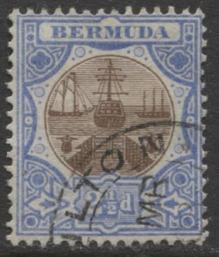 Bermuda - Scott 37 - Caravel - Wmk 3 -1906 - VFU -Single 2.1/2p Stamp