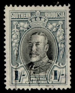 SOUTHERN RHODESIA GV SG23b, 1s black & greenish blue FINE USED. Cat £160 PERF 14