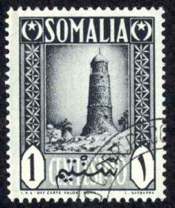 Somalia Sc# 170 Used 1950 1c Tower  at Minara Ciromo