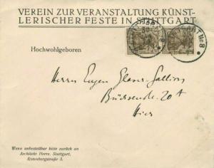 Germany 3pf Germania (2) 1914 Stuttgart Nr. 8 Local use.  Corner card Verein ...