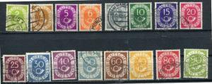 Germany 1951 Sc 670-685 MI 123-138 Used Numeral And Post Horn. CV 50.00 Euro