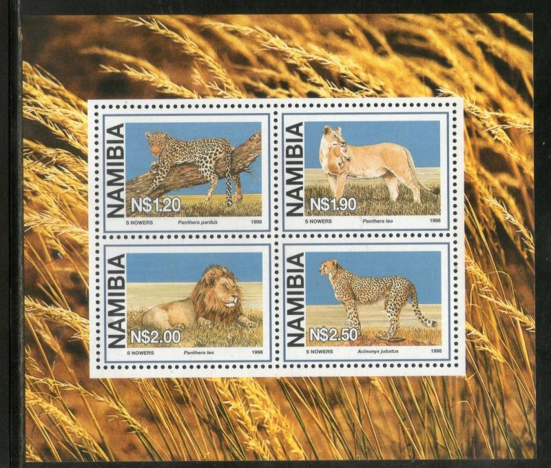 Namibia 1998 Big Cats Lion Leopard Wildlife Animals Fauna Sc 881a M/s MNH # 7639