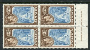 JAMAICA-1938 2/- Blue & Chocolate. A mint block of 4 with Imprint, mounted on o