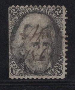 US Stamp #73 2c Black Jackson w/ Unique Cancel USED SCV $55