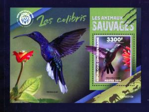 CENTRAL AFRICA 2019 WILD ANIMALS COLIBRIS  SOUVENIR SHEET  MINT NH