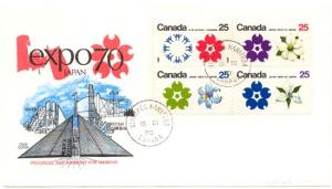 Canada - Expo 70 Wpg. Tag Block FIRST DAY COVER #511b