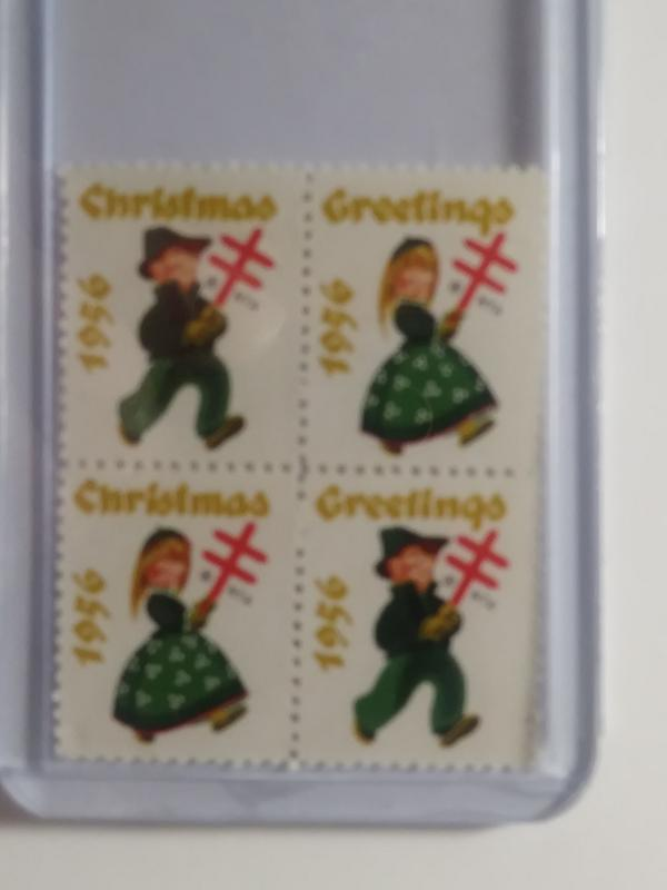 1956 CHRISTMAS SEALS BLOCK OF 4 NEVER HINGED GEMS !! GREAT FIND !!