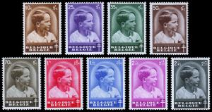 Belgium Scott B180-187, B188 (1936, 1937) Mint NH/VLH VF Complete Set, CV $33.80