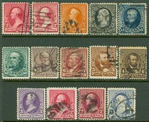 EDW1949SELL : USA 1890-93 Sc #219-29, 220a, 220c F-VF Used. Very Fresh. Cat $314