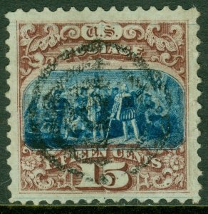 EDW1949SELL : USA 1869 Scott #118 XF, Used Incredible stamp PSAG Cert. Cat $850.