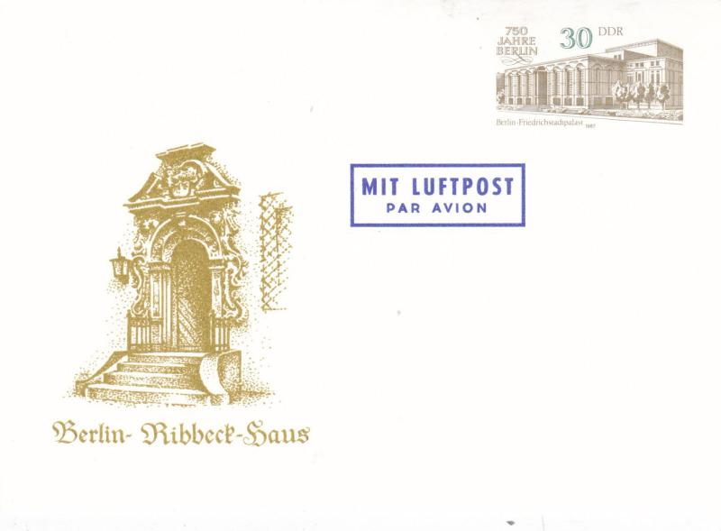 East Germany 1987 Ribbeck Haus 30pfg Air Mail Prepaid Postcard FDC Unused VGC