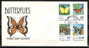 Virgin Is., Scott cat. 711-713, 718. Butterflies, Part 1 issue. First day cover.