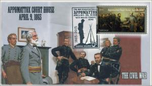 2015, Appomattox VA, Court House, Civil War, Pictorial Postmark, April 10