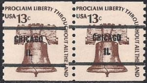 #1618AC 13 cent Liberty Bell, Coil Pair mint OG NH VF-XF
