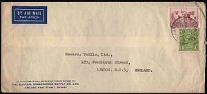 AUSTRALIA 1936 1/7d airmail rate cover to UK - 1/6d Hermes + GVI 1d green